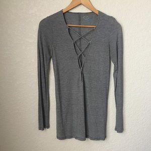 Planet Blue Striped Long Sleeve Lace Up Front Tee